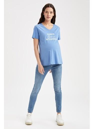 DeFacto Regular Fit Bisiklet Yaka Slogan Baskılı Hamile T-shirt Mavi